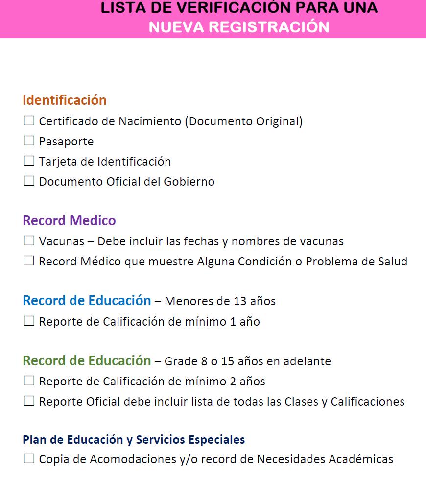 Lista de verificación de registro en español