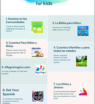 Documento de lista de podcasts para niños