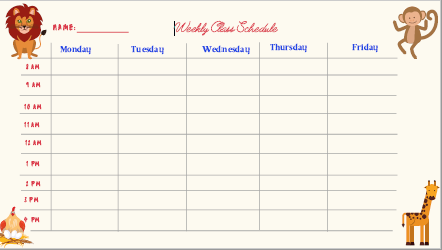 remote learning schedule template - animals