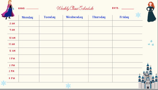 remote learning schedule -frozen