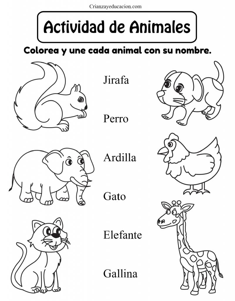 hoja de trabajo para colorear animales